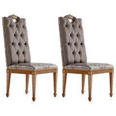 Set of 2 Upholstered Cherry Chairs