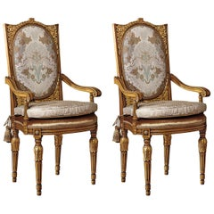Set of 2 Upholstered Dining Armchairs with Gold Inlays