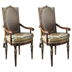Set of 2 Upholstered Dining Armchairs with Silver Inlays