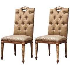Set of 2 Upholstered Walnut Chairs