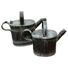 Set of 2 Victorian Brass Hot Water Jugs Original Verdigris