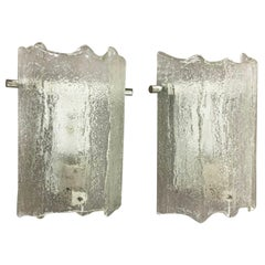Set of 2 Vintage 1960s Ice Glass Metal Wall Light by Kaiser Leuchten, Germany