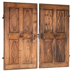 Set of 2 Vintage Doors with Diamond Panels