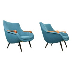 Set of 2 Vintage Lounge Chairs with Mahogany Armrest