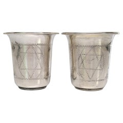 Set of 2 Vintage Sterling Silver Kiddush Cups