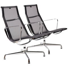 Set of 2 Vitra Eames Aluminium Group Armchairs