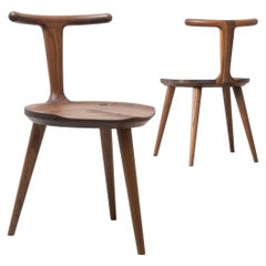 Set of 2 Walnut Oxbend Chairs 3 Legs by Fernweh Woodworking