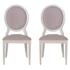 Set of 2 White and Antiqued Pink Chairs