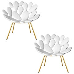 Set of 2 White and Brass Outdoor Cactus Chairs, Designed by Marcantonio