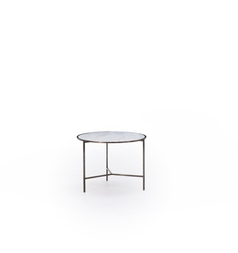Modern Set of 2 White Carrara Marble Center Tables with Fine, Powder Coated Iron Legs For Sale