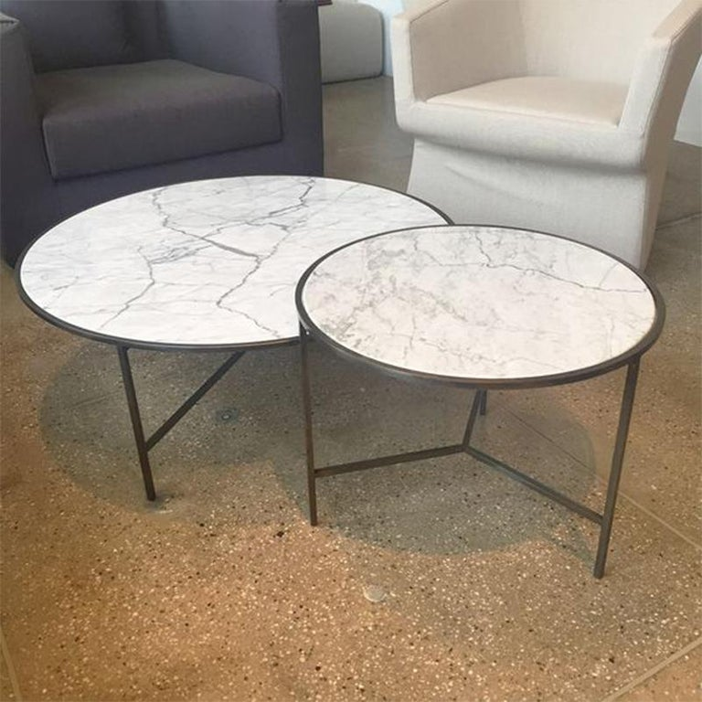 European Set of 2 White Carrara Marble Center Tables with Fine, Powder Coated Iron Legs For Sale