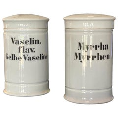 Set of 2 White Porcelain Pharmacist's Vessels, Germany, circa 1880, Apothecary