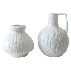 Set of 2 White Porcelain Vases by Kaiser, Germany, 1970s