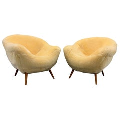 Set of 2 Wonderful and Cosy Sheepskin Chairs Attributed to Jean Royère