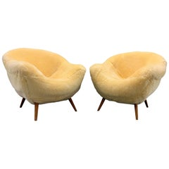 Set of 2 Wonderful and Cosy Sheepskin Chairs