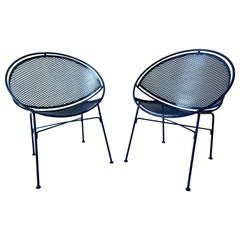 Set of 2 Wrought Iron Newly Enameled in Blue John Salterini Radar Patio Chairs