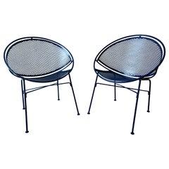 Set of 2 Wrought Iron Newly Enameled in Blue John Salterini Radar Patio Chairs