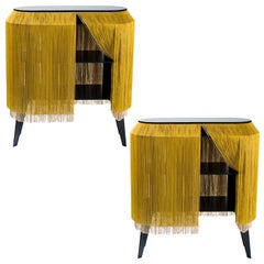 Set of 2 Yellow Gold Fringe Side Tables / Nightstand, Made in France