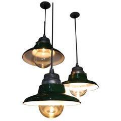 Set of 20 1930 Industrial Crouse Hinds Pendants Lights