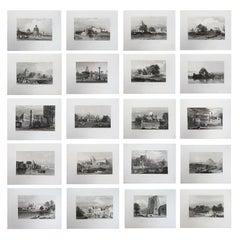 Set of 20 Antique Architectural Prints of India, circa 1830