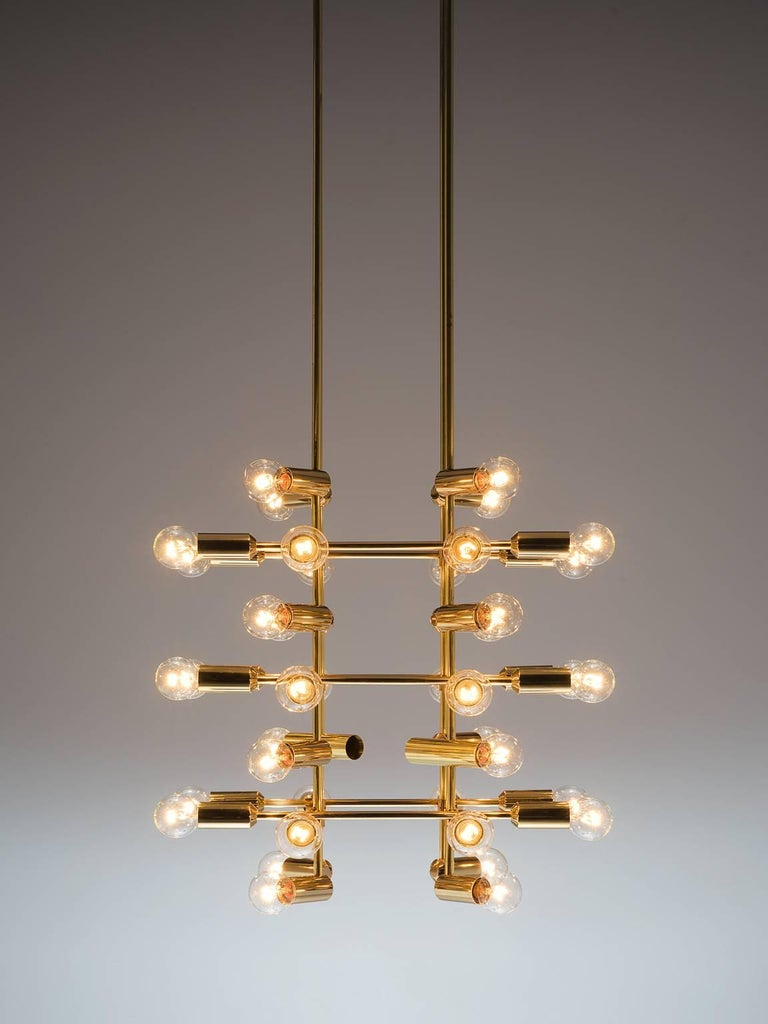 Mid-Century Modern Set of 20 Chandeliers in Brass, Switzerland, 1960s For Sale