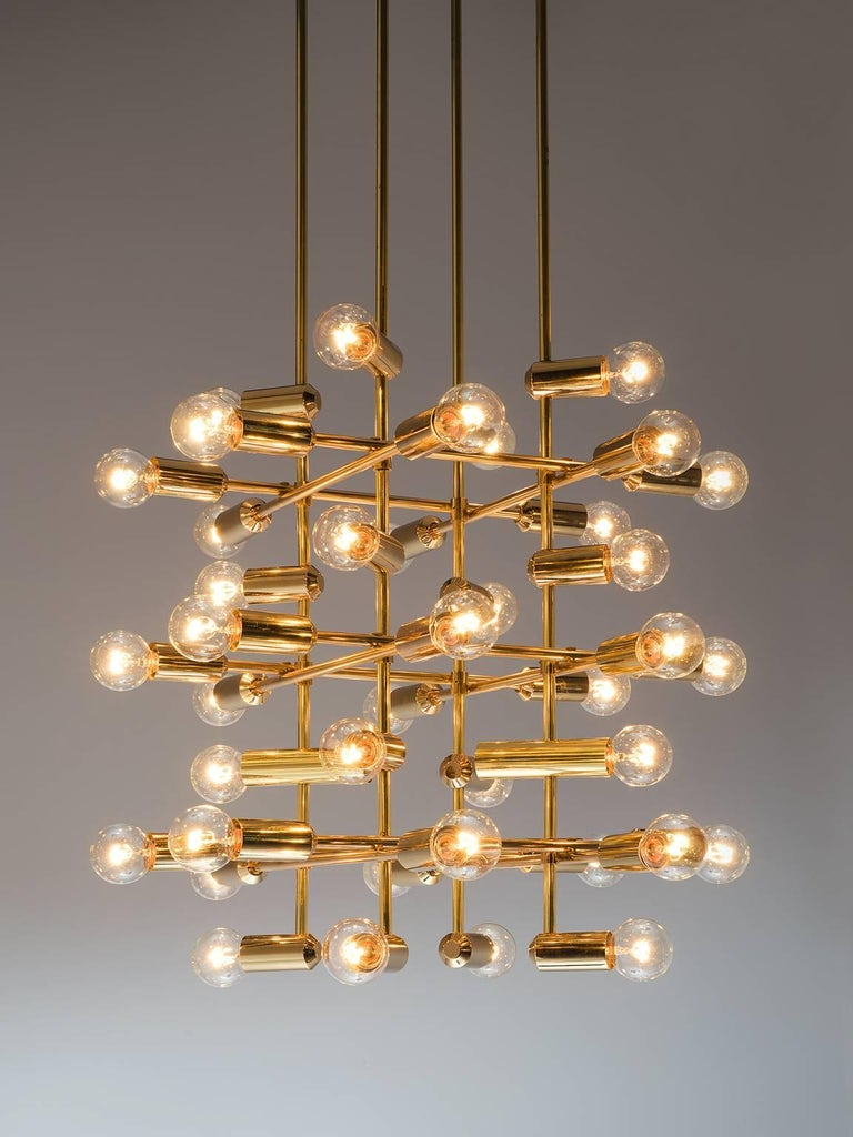Swiss Set of 20 Chandeliers in Brass, Switzerland, 1960s For Sale