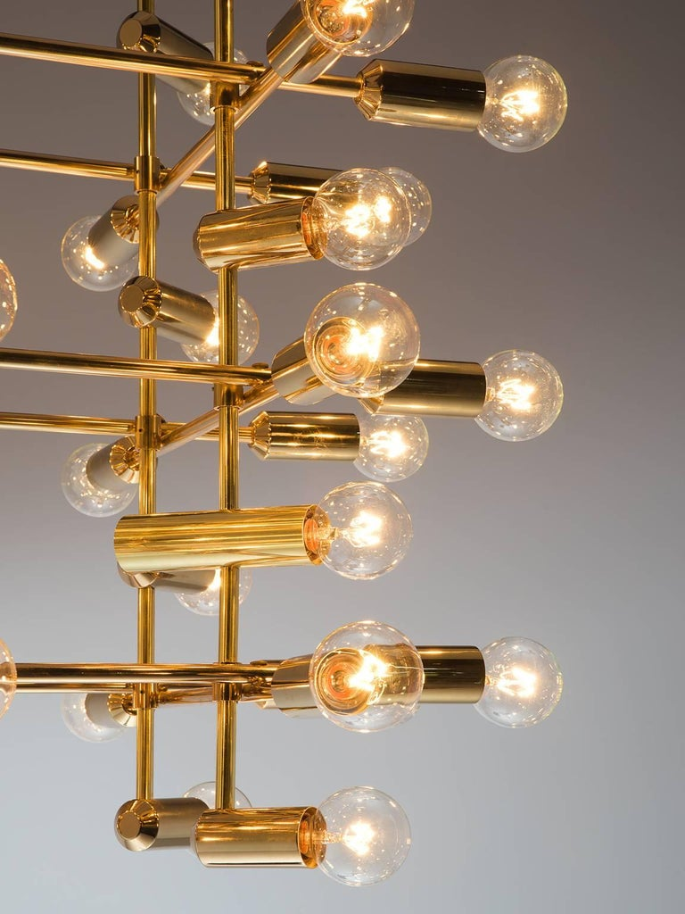 Set of 20 Chandeliers in Brass, Switzerland, 1960s In Good Condition For Sale In Waalwijk, NL