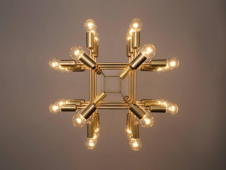 Mid-20th Century Set of 20 Chandeliers in Brass, Switzerland, 1960s For Sale