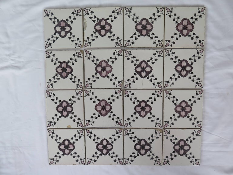 Dutch Colonial Set of 20 Delft Ceramic Wall Tiles Hand Painted, Dutch, circa 1830 For Sale