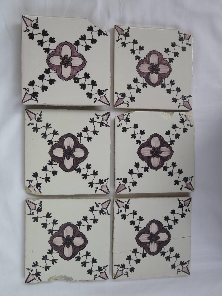 Glazed Set of 20 Delft Ceramic Wall Tiles Hand Painted, Dutch, circa 1830 For Sale