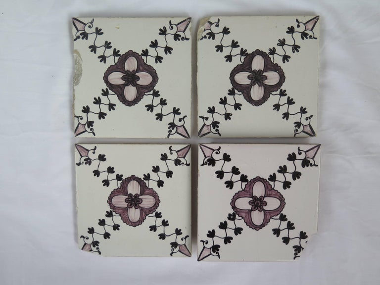 19th Century Set of 20 Delft Ceramic Wall Tiles Hand Painted, Dutch, circa 1830 For Sale