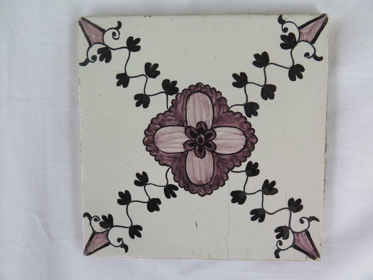 Earthenware Set of 20 Delft Ceramic Wall Tiles Hand Painted, Dutch, circa 1830 For Sale
