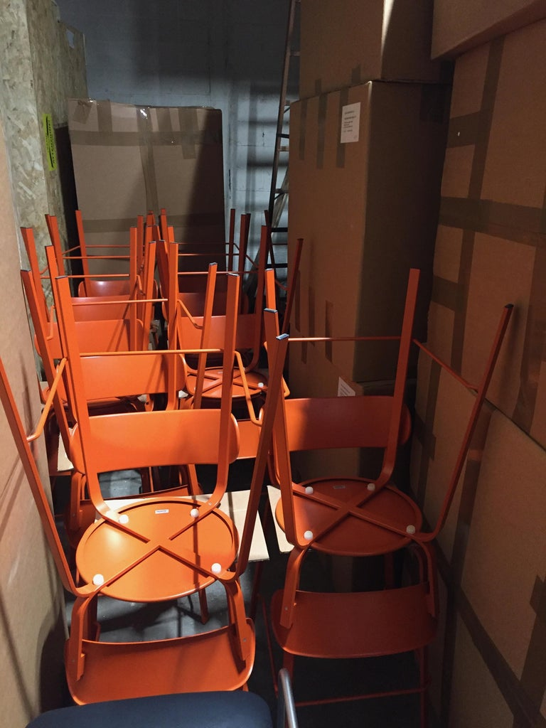 "16 LaPalma Stil stools Measures: Seat height of 25 1/2"".  Orange RAL color 2001. Extremely light and produced in orange color metal, stackable stools."