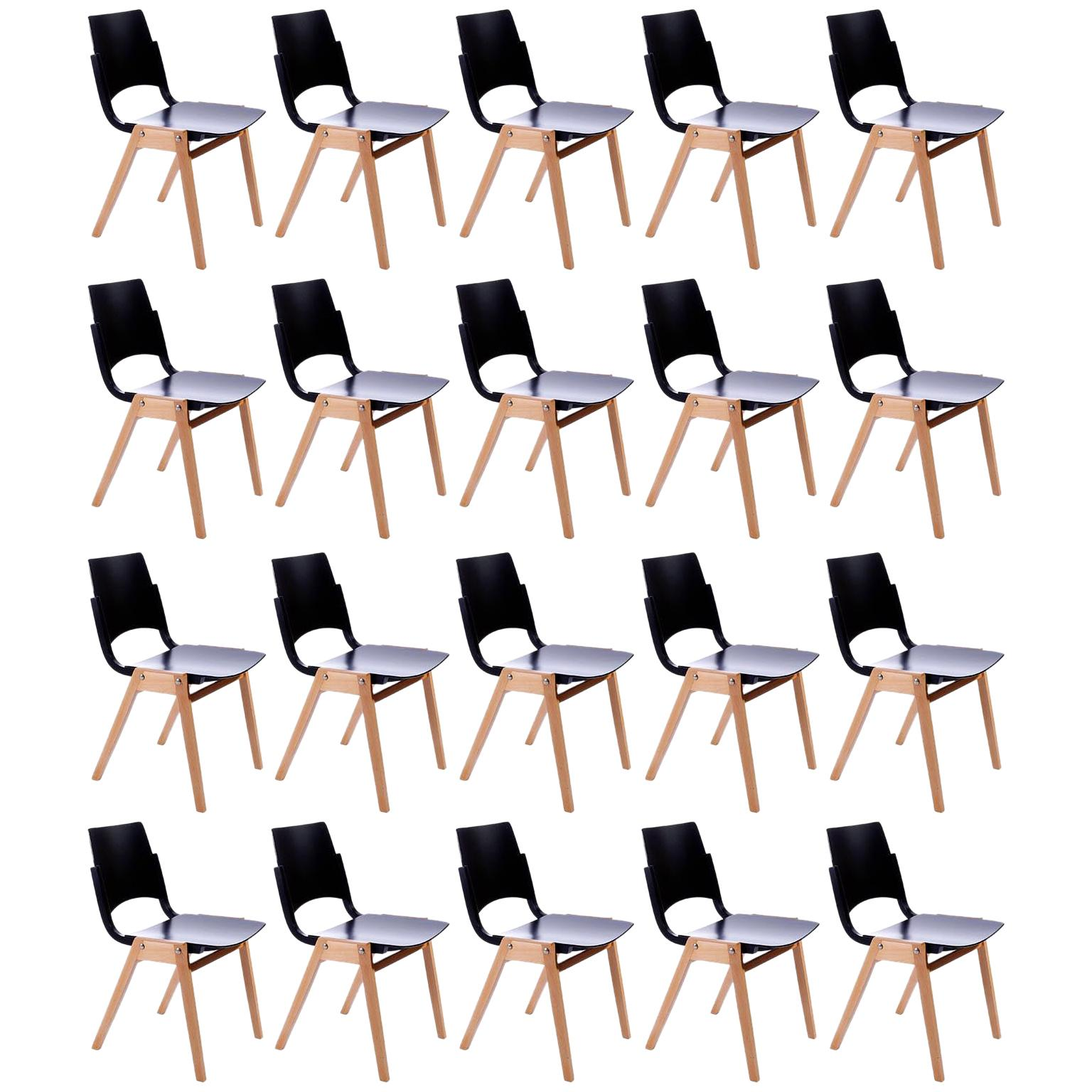 Set of 20 Roland Rainer Stacking Chairs P7, Bicolored Beech, Austria, 1952