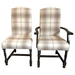 Set of 20 Upholstered Camel Back Dining Chairs '12 Singles and 8 Carvers'