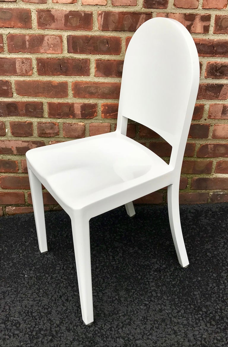 Modern Set of 20 White High Gloss Aluminum Dining Chairs by Andrée Putman for Emeco For Sale
