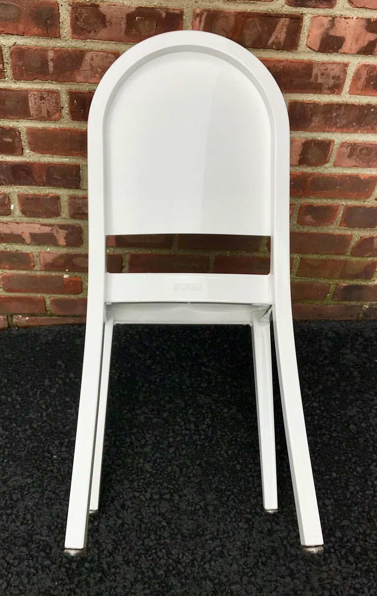 American Set of 20 White High Gloss Aluminum Dining Chairs by Andrée Putman for Emeco For Sale