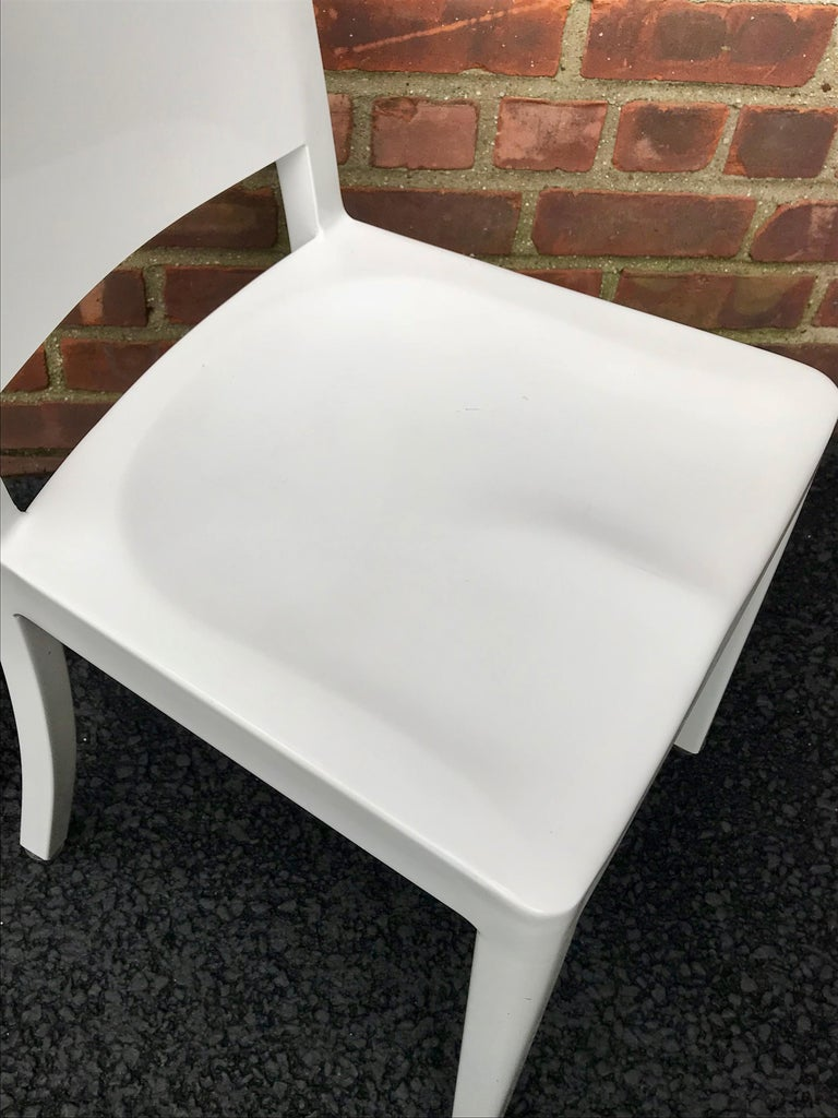 Powder-Coated Set of 20 White High Gloss Aluminum Dining Chairs by Andrée Putman for Emeco For Sale