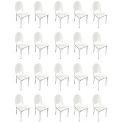 Set of 20 White High Gloss Aluminum Dining Chairs by Andrée Putman for Emeco
