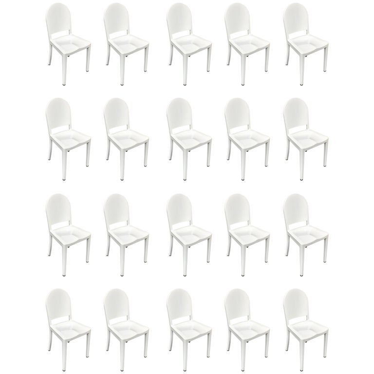 Set of 20 White High Gloss Aluminum Dining Chairs by Andrée Putman for Emeco For Sale