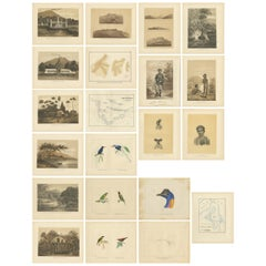 Set of 21 Antique Prints Illustrating the Travels to Cenderawasih Bay, 1875