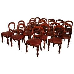 Set of 22 Mahogany Chairs Upholstered with Leather, End of the 19th Century