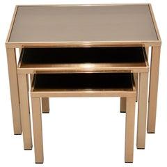 Set of 23-Karat Gold-Plated Nesting Tables by Belgo Chrome