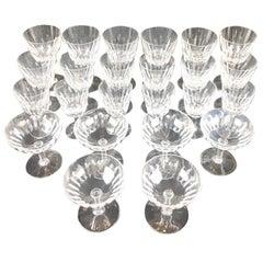 "Set of 24 Baccarat Crystal ""Verone Pattern"" Glasses, circa 1950s"