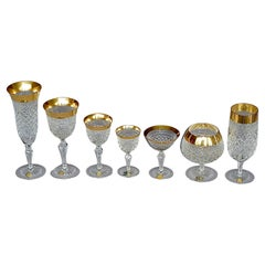 Set of 24 Crystal Gold Josephinenhuette Glasses Champagne Wine Beer Water 1970s