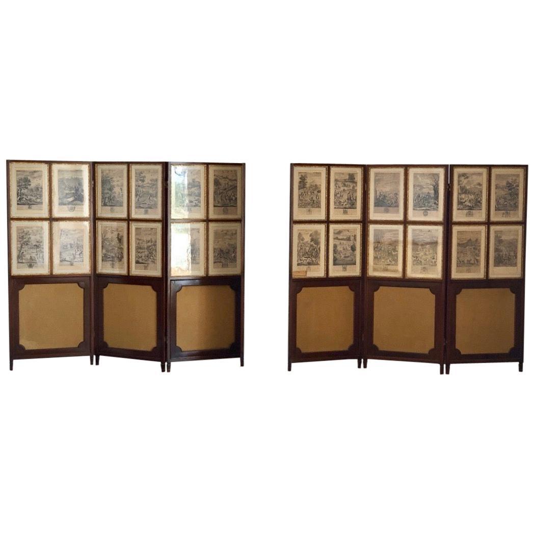 Set of 24 Engravings by Richard Blome Framed in Pair of Regency Screens