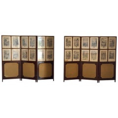 Set of 24 Engravings by Richard Blome Framed in Pair of Regency Screens