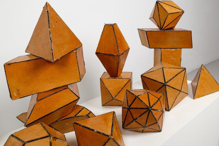 Bauhaus Set of 24 Geometric Science Cardboard Classroom Crystal Models Praque, 1920 For Sale
