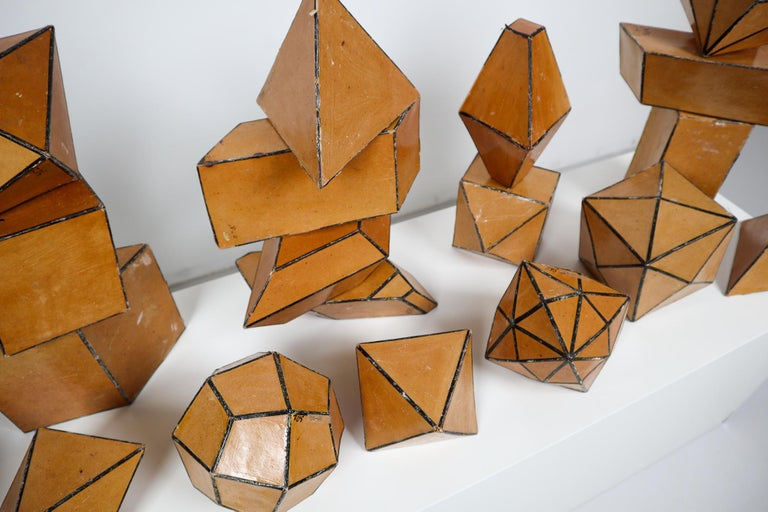 Czech Set of 24 Geometric Science Cardboard Classroom Crystal Models Praque, 1920 For Sale