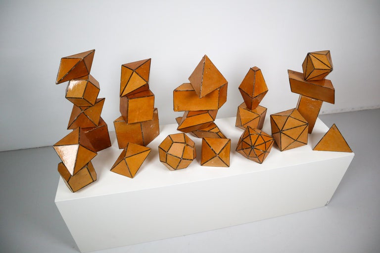 Set of 24 Geometric Science Cardboard Classroom Crystal Models Praque, 1920 In Good Condition For Sale In Almelo, NL